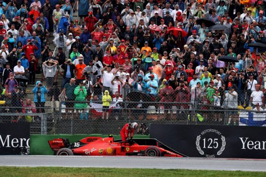 Charles Leclerc (MON) Ferrari SF90 crashed out of the race. 28.07.2019. Formula 1 World Championship, Rd 11, German Grand Prix, Hockenheim, Germany, Race Day. - www.xpbimages.com, EMail: requests@xpbimages.com - copy of publication required for printed pictures. Every used picture is fee-liable. © Copyright: Photo4 / XPB Images