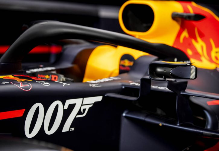 The 007 special livery of the Red Bull Racing RB15 is seen in the garage