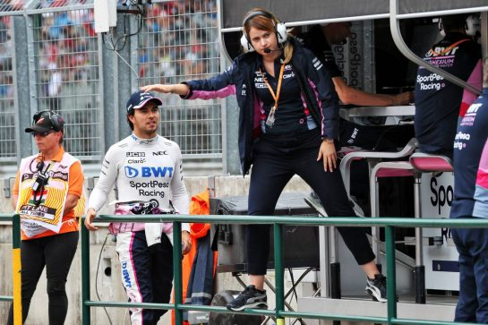 Sergio Perez (MEX) Racing Point F1 Team with Bernadette Collins (GBR) Racing Point F1 Team Performance and Strategy Engineer. 02.08.2019. Formula 1 World Championship, Rd 12, Hungarian Grand Prix, Budapest, Hungary, Practice Day. - www.xpbimages.com, EMail: requests@xpbimages.com - copy of publication required for printed pictures. Every used picture is fee-liable. © Copyright: Batchelor / XPB Images