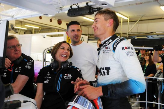 George Russell (GBR) Williams Racing with Claire Williams (GBR) Williams Racing Deputy Team Principal and Mike O'Driscoll (GBR) Williams Group CEO after qualifying. 03.08.2019. Formula 1 World Championship, Rd 12, Hungarian Grand Prix, Budapest, Hungary, Qualifying Day.  - www.xpbimages.com, EMail: requests@xpbimages.com - copy of publication required for printed pictures. Every used picture is fee-liable. © Copyright: Bearne / XPB Images