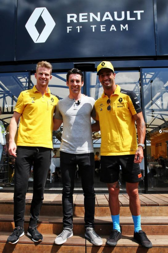 Nico Hulkenberg (GER) Renault F1 Team and Daniel Ricciardo (AUS) Renault F1 Team with Simon Pagenaud (FRA) Team Penske IndyCar Driver. 04.08.2019. Formula 1 World Championship, Rd 12, Hungarian Grand Prix, Budapest, Hungary, Race Day. - www.xpbimages.com, EMail: requests@xpbimages.com - copy of publication required for printed pictures. Every used picture is fee-liable. © Copyright: Batchelor / XPB Images