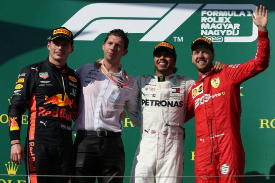 1st place Lewis Hamilton (GBR) Mercedes AMG F1 W10, 2nd place Max Verstappen (NLD) Red Bull Racing RB15 and 3rd place Sebastian Vettel (GER) Ferrari SF90. 04.08.2019. Formula 1 World Championship, Rd 12, Hungarian Grand Prix, Budapest, Hungary, Race Day. - www.xpbimages.com, EMail: requests@xpbimages.com - copy of publication required for printed pictures. Every used picture is fee-liable. © Copyright: Batchelor / XPB Images