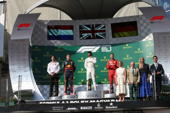 1st place Lewis Hamilton (GBR) Mercedes AMG F1 W10, 2nd place Max Verstappen (NLD) Red Bull Racing RB15 and 3rd place Sebastian Vettel (GER) Ferrari SF90.