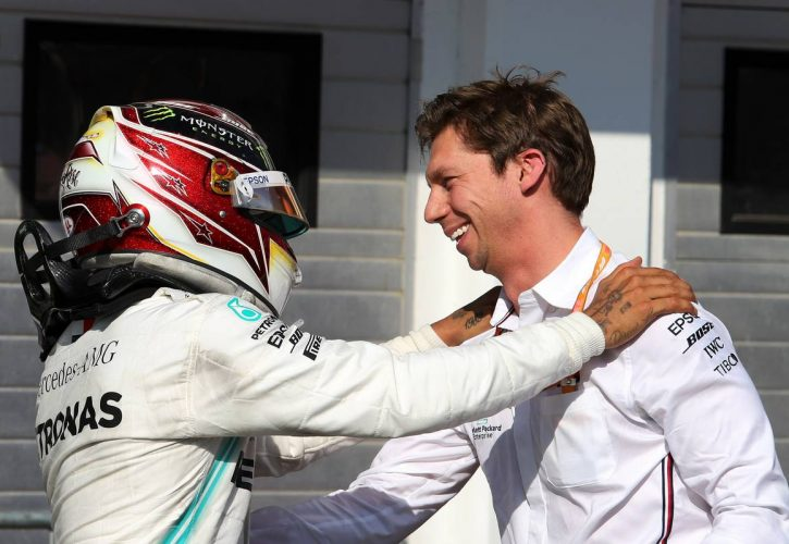 Race winner Lewis Hamilton (GBR) Mercedes AMG F1 celebrates with James Vowles (GBR) Mercedes AMG F1 Chief Strategist in parc ferme.