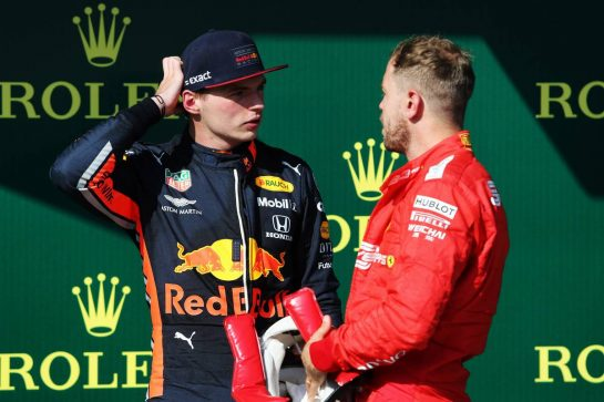 (L to R): Max Verstappen (NLD) Red Bull Racing with Sebastian Vettel (GER) Ferrari on the podium.