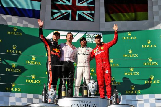 The podium (L to R): Max Verstappen (NLD) Red Bull Racing, second; James Vowles (GBR) Mercedes AMG F1 Chief Strategist; Lewis Hamilton (GBR) Mercedes AMG F1, race winner; Sebastian Vettel (GER) Ferrari, third.