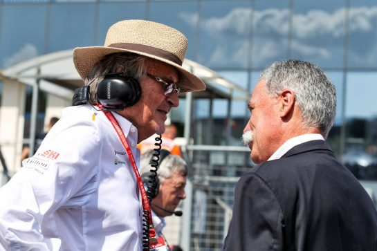 (L to R): Mansour Ojjeh, McLaren shareholder with Chase Carey (USA) Formula One Group Chairman on the grid.