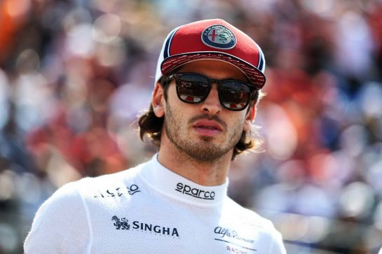 Antonio Giovinazzi (ITA) Alfa Romeo Racing on the grid.