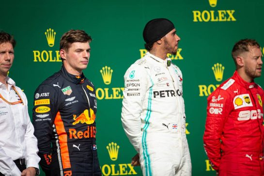 The podium (L to R): Max Verstappen (NLD) Red Bull Racing, second; Lewis Hamilton (GBR) Mercedes AMG F1, race winner; Sebastian Vettel (GER) Ferrari, third.