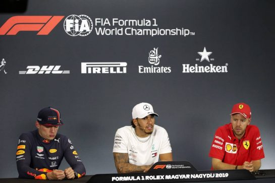 The post race FIA Press Conference (L to R): Max Verstappen (NLD) Red Bull Racing, second; Lewis Hamilton (GBR) Mercedes AMG F1, race winner; Sebastian Vettel (GER) Ferrari, third.
