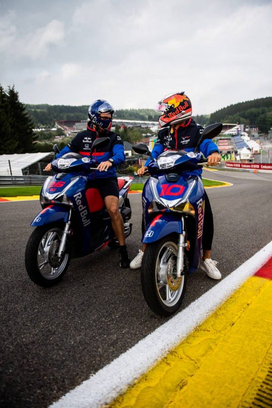 Pierre Gasly (FRA) Scuderia Toro Rosso rides the circuit on a Scooter. 29.08.2019. Formula 1 World Championship, Rd 13, Belgian Grand Prix, Spa Francorchamps, Belgium, Preparation Day. - www.xpbimages.com, EMail: requests@xpbimages.com - copy of publication required for printed pictures. Every used picture is fee-liable. © Copyright: Price / XPB Images