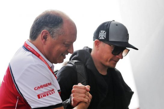 Kimi Raikkonen (FIN) Alfa Romeo Racing with Frederic Vasseur (FRA) Alfa Romeo Racing Team Principal. 29.08.2019. Formula 1 World Championship, Rd 13, Belgian Grand Prix, Spa Francorchamps, Belgium, Preparation Day.  - www.xpbimages.com, EMail: requests@xpbimages.com - copy of publication required for printed pictures. Every used picture is fee-liable. © Copyright: Bearne / XPB Images