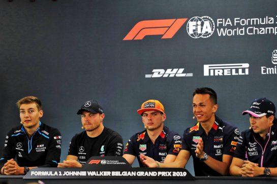 The FIA Press Conference (L to R): George Russell (GBR) Williams Racing; Valtteri Bottas (FIN) Mercedes AMG F1; Max Verstappen (NLD) Red Bull Racing; Alexander Albon (THA) Red Bull Racing; Sergio Perez (MEX) Racing Point F1 Team.