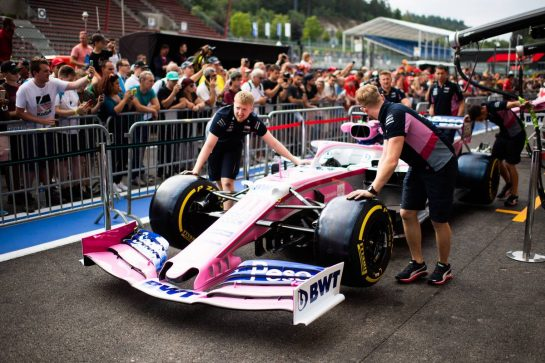 Racing Point F1 Team RP19 pushed down the pit lane. 29.08.2019. Formula 1 World Championship, Rd 13, Belgian Grand Prix, Spa Francorchamps, Belgium, Preparation Day. - www.xpbimages.com, EMail: requests@xpbimages.com - copy of publication required for printed pictures. Every used picture is fee-liable. © Copyright: Price / XPB Images