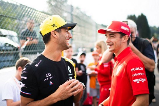 (L to R): Daniel Ricciardo (AUS) Renault F1 Team with Charles Leclerc (MON) Ferrari. 29.08.2019. Formula 1 World Championship, Rd 13, Belgian Grand Prix, Spa Francorchamps, Belgium, Preparation Day. - www.xpbimages.com, EMail: requests@xpbimages.com - copy of publication required for printed pictures. Every used picture is fee-liable. © Copyright: Price / XPB Images