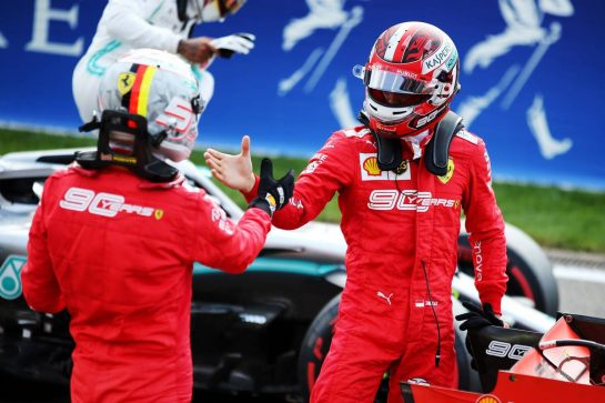 Charles Leclerc (MON) Ferrari celebrates his pole position in qualifying parc ferme with team mate Sebastian Vettel (GER) Ferrari. 31.08.2019. Formula 1 World Championship, Rd 13, Belgian Grand Prix, Spa Francorchamps, Belgium, Qualifying Day. - www.xpbimages.com, EMail: requests@xpbimages.com - copy of publication required for printed pictures. Every used picture is fee-liable. © Copyright: Batchelor / XPB Images
