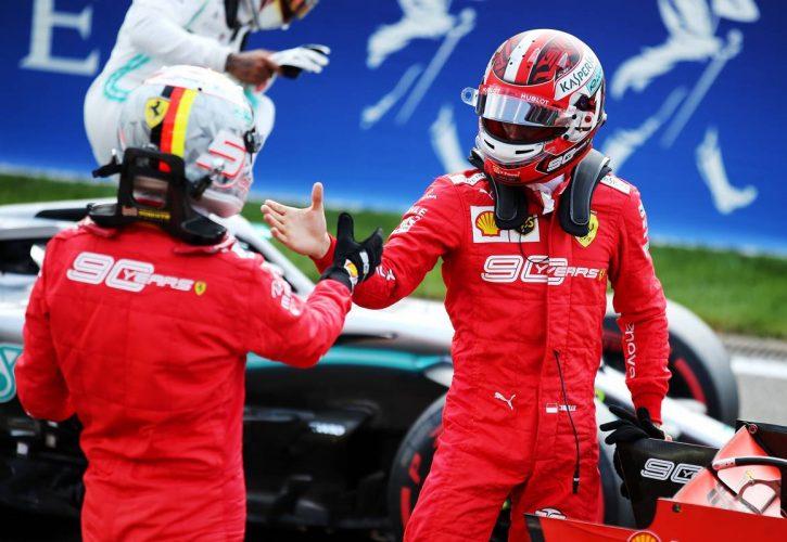 Charles Leclerc (MON) Ferrari celebrates his pole position in qualifying parc ferme with team mate Sebastian Vettel (GER) Ferrari.
