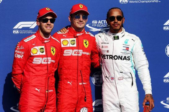 Qualifying top three in parc ferme (L to R): Sebastian Vettel (GER) Ferrari, second; Charles Leclerc (MON) Ferrari, pole position; Lewis Hamilton (GBR) Mercedes AMG F1, third. 31.08.2019. Formula 1 World Championship, Rd 13, Belgian Grand Prix, Spa Francorchamps, Belgium, Qualifying Day. - www.xpbimages.com, EMail: requests@xpbimages.com - copy of publication required for printed pictures. Every used picture is fee-liable. © Copyright: Batchelor / XPB Images