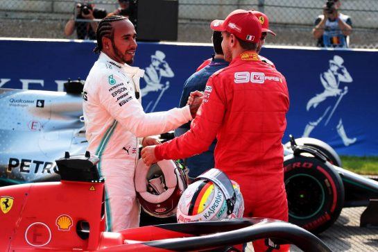 (L to R): Lewis Hamilton (GBR) Mercedes AMG F1 with Sebastian Vettel (GER) Ferrari in qualifying parc ferme. 31.08.2019. Formula 1 World Championship, Rd 13, Belgian Grand Prix, Spa Francorchamps, Belgium, Qualifying Day. - www.xpbimages.com, EMail: requests@xpbimages.com - copy of publication required for printed pictures. Every used picture is fee-liable. © Copyright: Photo4 / XPB Images