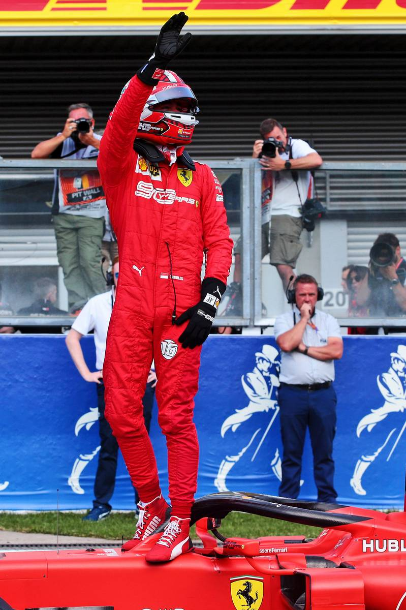 Charles Leclerc (MON) Ferrari SF90 celebrates his pole position in qualifying parc ferme.