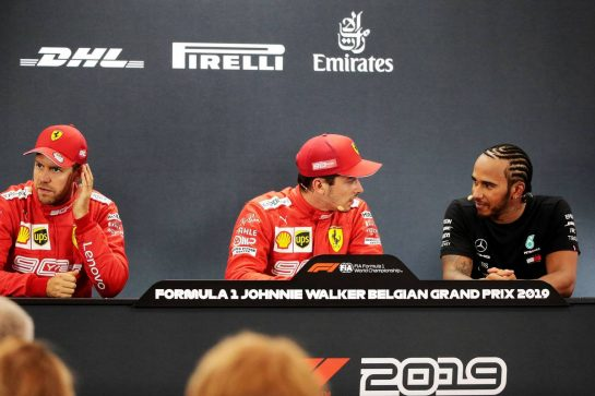Qualifying top three in the FIA Press Conference (L to R): Sebastian Vettel (GER) Ferrari, second; Charles Leclerc (MON) Ferrari, pole position; Lewis Hamilton (GBR) Mercedes AMG F1, third. 31.08.2019. Formula 1 World Championship, Rd 13, Belgian Grand Prix, Spa Francorchamps, Belgium, Qualifying Day. - www.xpbimages.com, EMail: requests@xpbimages.com - copy of publication required for printed pictures. Every used picture is fee-liable. © Copyright: Photo4 / XPB Images