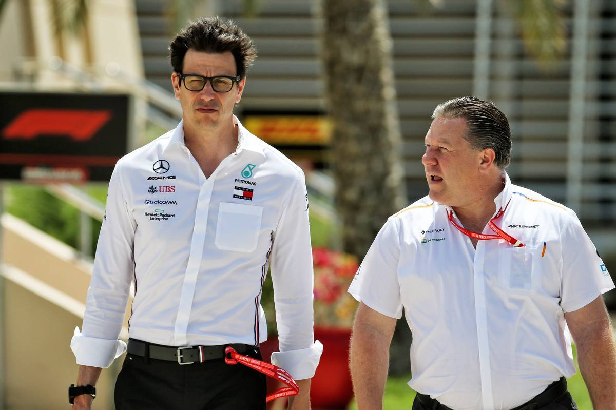 Toto Wolff (GER) Mercedes AMG F1 Shareholder and Executive Director with Zak Brown (USA) McLaren Executive Director.