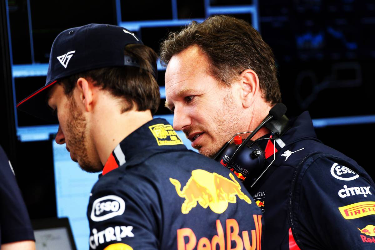 Pierre Gasly (FRA) Red Bull Racing with Christian Horner (GBR) Red Bull Racing Team Principal.