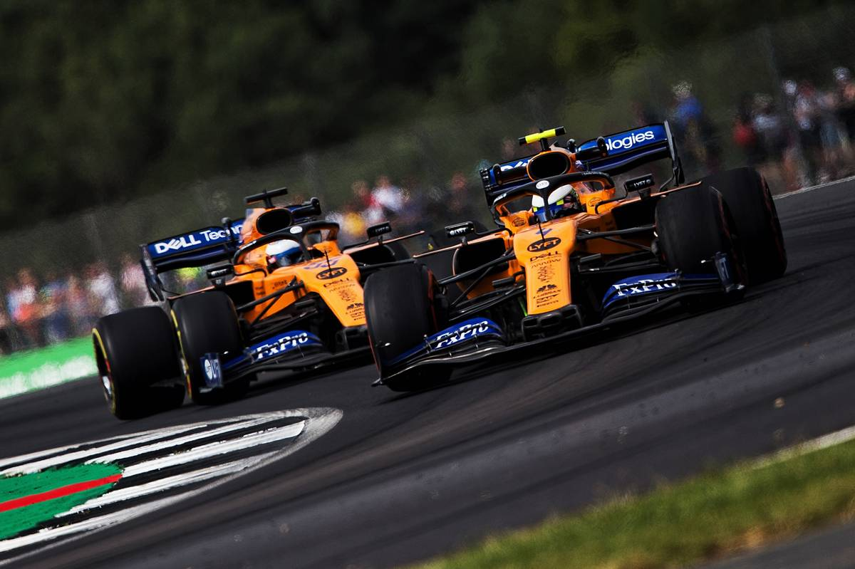 Lando Norris (GBR) McLaren MCL34 leads team mate Carlos Sainz Jr (ESP) McLaren MCL34.