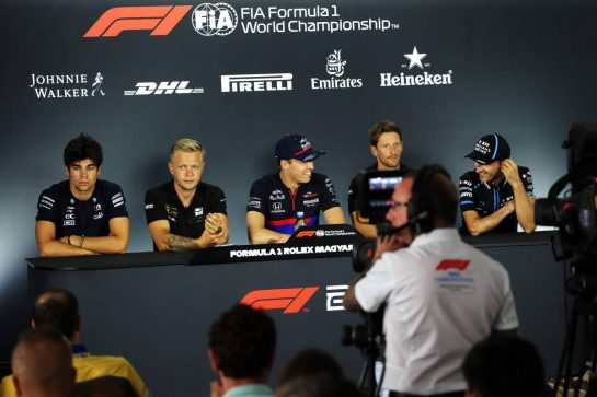 The FIA Press Conference (L to R): Lance Stroll (CDN) Racing Point F1 Team; Kevin Magnussen (DEN) Haas F1 Team; Daniil Kvyat (RUS) Scuderia Toro Rosso; Romain Grosjean (FRA) Haas F1 Team; Robert Kubica (POL) Williams Racing.
