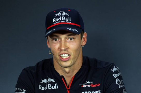 Daniil Kvyat (RUS) Scuderia Toro Rosso in the FIA Press Conference.