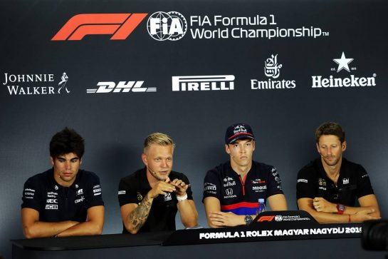 The FIA Press Conference (L to R): Lance Stroll (CDN) Racing Point F1 Team; Kevin Magnussen (DEN) Haas F1 Team; Daniil Kvyat (RUS) Scuderia Toro Rosso; Romain Grosjean (FRA) Haas F1 Team.