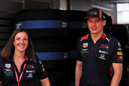 Max Verstappen (NLD) Red Bull Racing with Vicky Lloyd (GBR) Red Bull Racing Senior Communications Officer.