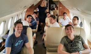 Russell and Grosjean clear the air at 30,000 feet!