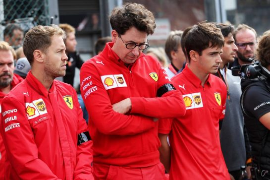 F1, F2, and F3 pay their respects to Anthoine Hubert Sebastian Vettel (GER) Ferrari; Mattia Binotto (ITA) Ferrari Team Principal and Charles Leclerc (MON) Ferrari.