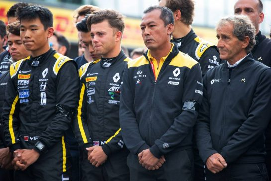 F1, F2, and F3 pay their respects to Anthoine Hubert (L to R): Ye Yifei (CHN) Renault Sport Academy Driver; Max Fewtrell (GBR) Renault Sport Academy Driver; Mia Sharizman (MAL) Renault Sport Academy Director; Alain Prost (FRA) Renault F1 Team Special Advisor.