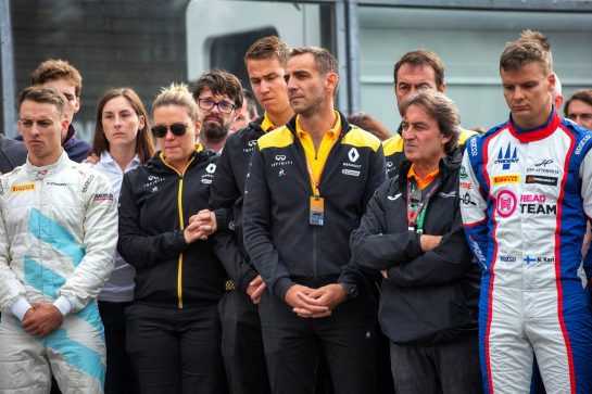 F1, F2, and F3 pay their respects to Anthoine Hubert - Cyril Abiteboul (FRA) Renault Sport F1 Managing Director.