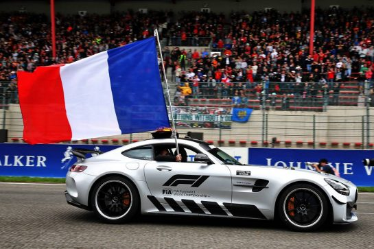 The FIA Safety Car flies the french flag in tribute to Anthoine Hubert on the drivers parade.