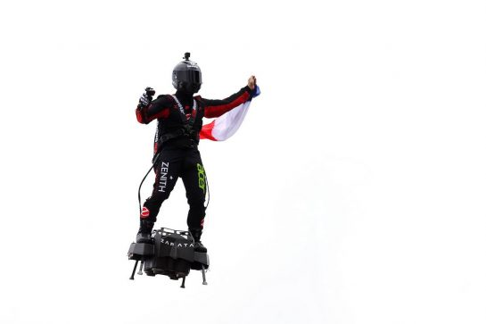 Franky Zapata (FRA) demonstrates the Zapata Flyboard. 01.09.2019. Formula 1 World Championship, Rd 13, Belgian Grand Prix, Spa Francorchamps, Belgium, Race Day. - www.xpbimages.com, EMail: requests@xpbimages.com - copy of publication required for printed pictures. Every used picture is fee-liable. © Copyright: Batchelor / XPB Images