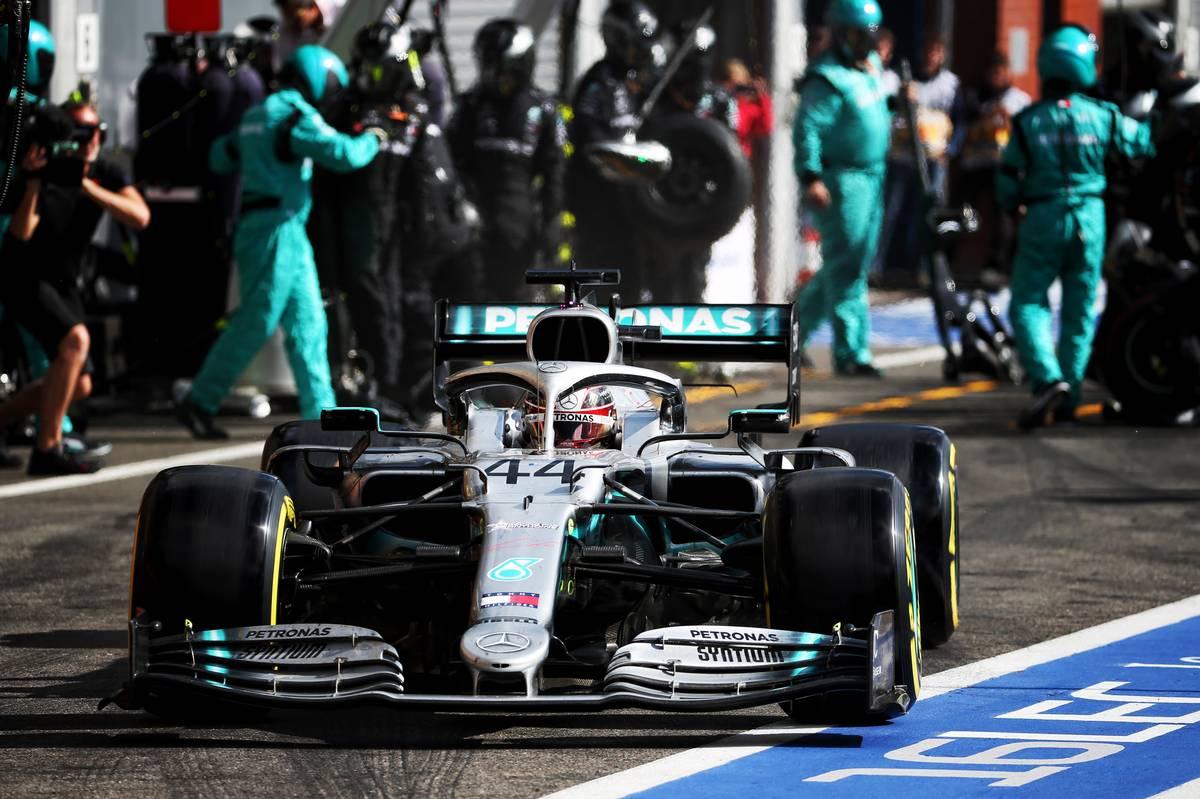 Lewis Hamilton (GBR) Mercedes AMG F1 W10 makes a pit stop.