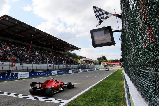 Race winner Charles Leclerc (MON) Ferrari SF90 takes the chequered flag at the end of the race. 01.09.2019. Formula 1 World Championship, Rd 13, Belgian Grand Prix, Spa Francorchamps, Belgium, Race Day. - www.xpbimages.com, EMail: requests@xpbimages.com - copy of publication required for printed pictures. Every used picture is fee-liable. © Copyright: Charniaux / XPB Images