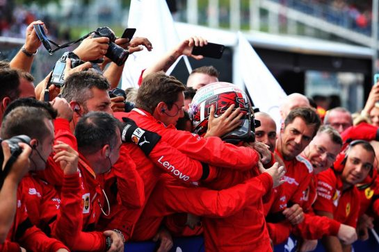 Race winner Charles Leclerc (MON) Ferrari celebrates in parc ferme with the team.
