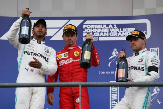 1st place Charles Leclerc (MON) Ferrari SF90, 2nd place Lewis Hamilton (GBR) Mercedes AMG F1 W10 and 3rd place Valtteri Bottas (FIN) Mercedes AMG F1 W10. 01.09.2019. Formula 1 World Championship, Rd 13, Belgian Grand Prix, Spa Francorchamps, Belgium, Race Day. - www.xpbimages.com, EMail: requests@xpbimages.com - copy of publication required for printed pictures. Every used picture is fee-liable. © Copyright: Batchelor / XPB Images