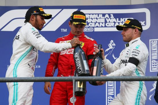 1st place Charles Leclerc (MON) Ferrari SF90, 2nd place Lewis Hamilton (GBR) Mercedes AMG F1 W10 and 3rd place Valtteri Bottas (FIN) Mercedes AMG F1 W10.