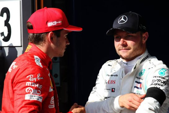 (L to R): race winner Charles Leclerc (MON) Ferrari with third placed Valtteri Bottas (FIN) Mercedes AMG F1 in parc ferme.