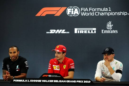 The post race FIA Press Conference (L to R): Lewis Hamilton (GBR) Mercedes AMG F1, second; Charles Leclerc (MON) Ferrari, race winner; Valtteri Bottas (FIN) Mercedes AMG F1, third.