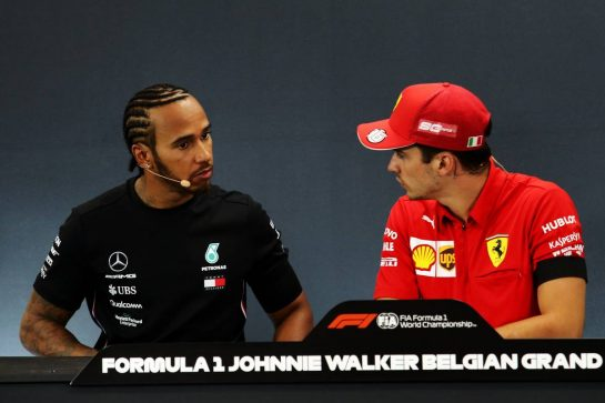 (L to R): Lewis Hamilton (GBR) Mercedes AMG F1 and Charles Leclerc (MON) Ferrari in the post race FIA Press Conference.