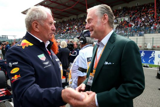 Dr Helmut Marko (AUT) Red Bull Motorsport Consultant with Sean Bratches (USA) Formula 1 Managing Director