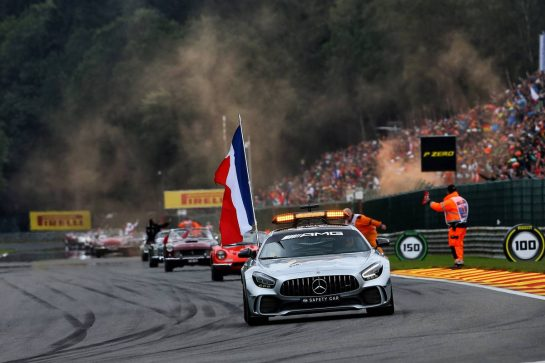 The FIA Safety Car on the drivers parade with a French flag in tribute to Anthoine Hubert.