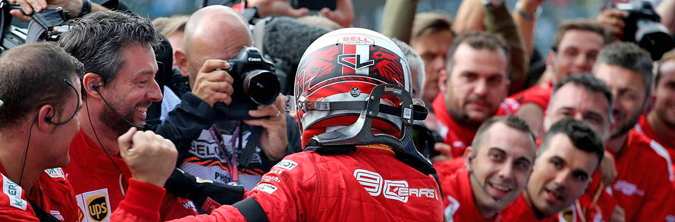 Charles Leclerc celebrates in parc ferme at Spa after his win in the 2019 Belgian Grand Prix