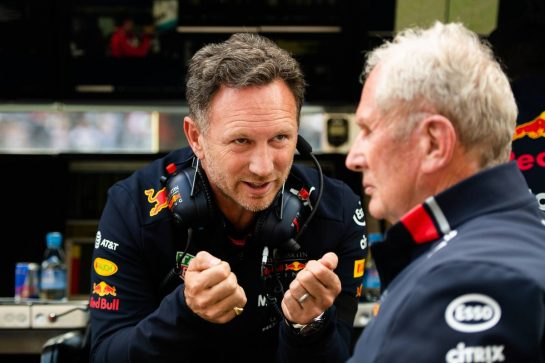 (L to R): Christian Horner (GBR) Red Bull Racing Team Principal with Dr Helmut Marko (AUT) Red Bull Motorsport Consultant.